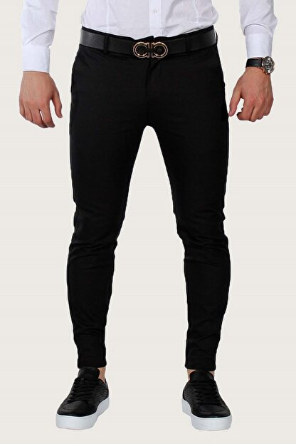 Terapi Men Erkek Keten Pantolon Likralı 7y-2200068-002 Siyah