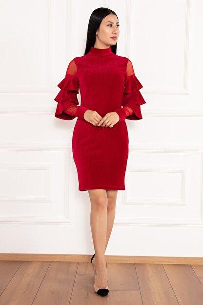 PULLIMM Hacto 3970 Kolları Fırfırlı Fitilli Kadife Elbise