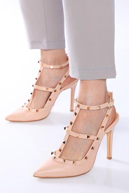 Nizar Deniz Malenti Ten Mat Zımbalı Kadın 11cm Ince Topuklu Ayakkabı