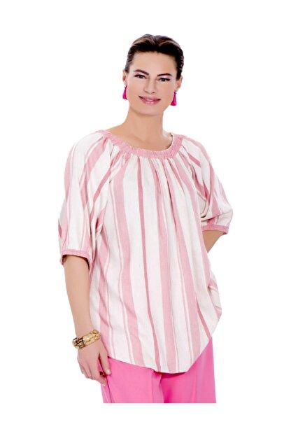 Günay Kadın Bluz Ccaktar Ilkbahar Yaz Geniş Yaka Pamuk-pembe