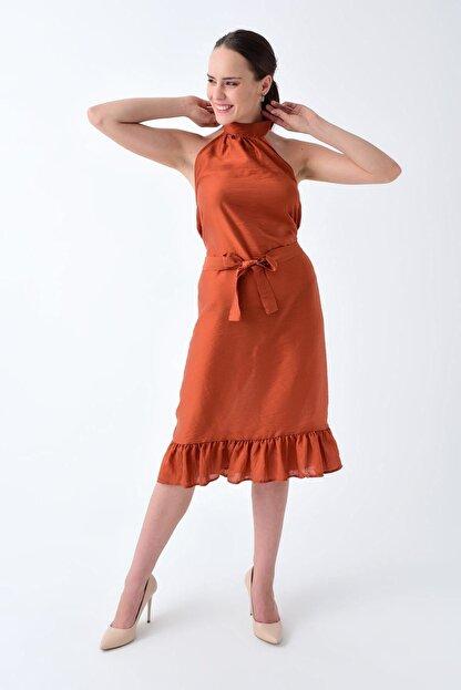 Cotton Mood 92210148 Bodrum Boyun Bağlamalı Beli Kemerli Kolsuz Elbise Kıremıt
