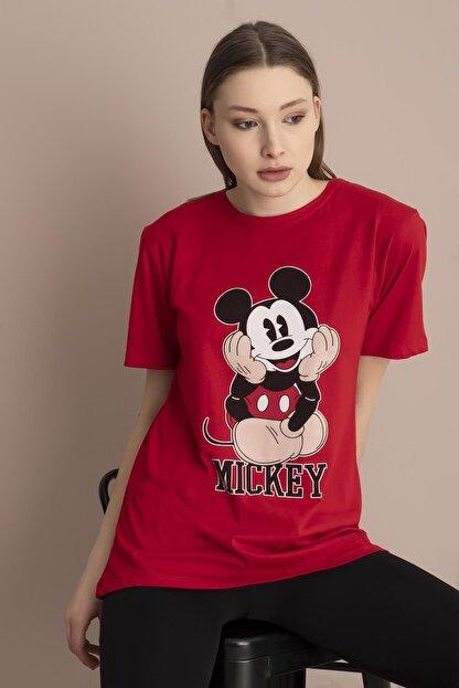 Tena Moda Kadın Kırmızı Mickey Mouse Baskılı Tişört