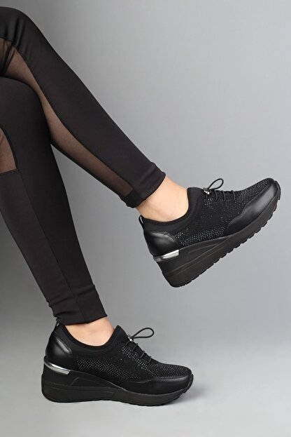 Modabuymus Siyah Taşlı Dolgu Topuklu Kadın Ayakkabı - Stonestar