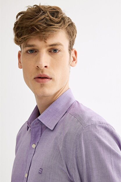 Avva Erkek Mor Düz Klasik Yaka Slim Fit Gömlek A01y2120