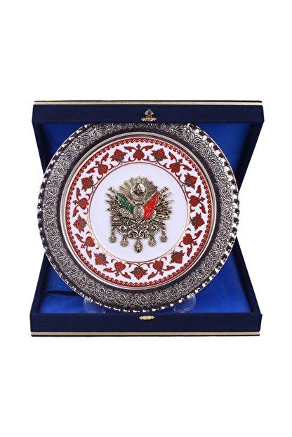 Turkuaz El Sanatları 30 Cm Gümüş Kaplama Tuğralı Dekoratif Tabak