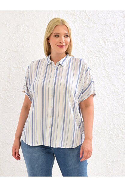 LC Waikiki Kadın Mavi Çizgili  Gömlek