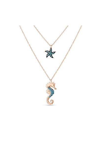 MySilvers Firuze Deniz Atı Deniz Yıldızı Gümüş Kolye Kadın Rose