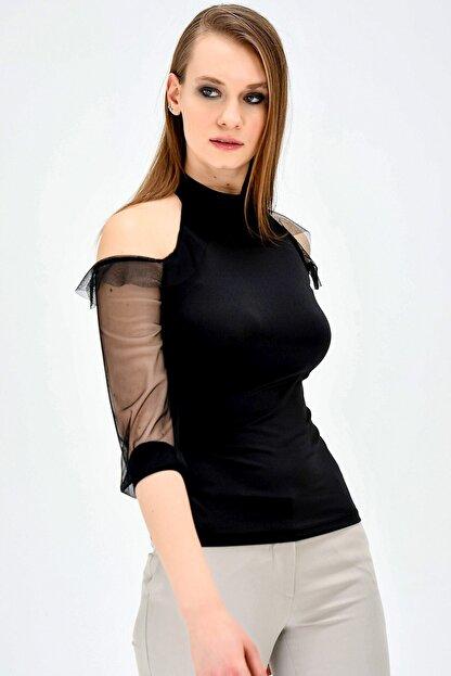 Jument Kadın Ofis Dik Yaka Tül Detaylı Body Bluz -siyah