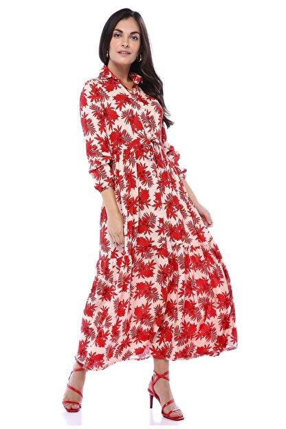 AYSL BUTİK Kırmızı Çiçek Desenli Belden Büzgülü Gömlek Elbise