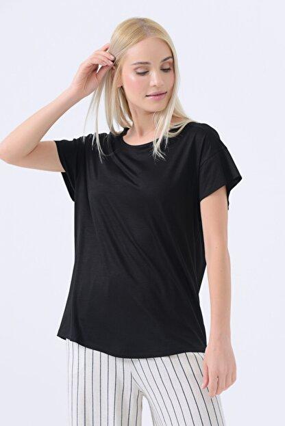 Gusto Yuvarlak Yakalı T-shirt - Siyah