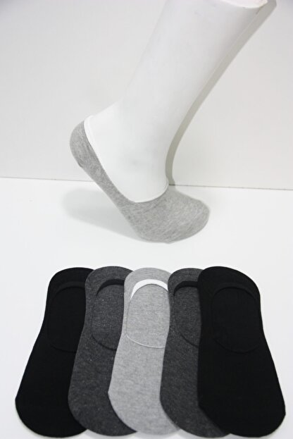 Prestige Erkek Koyu Gri Silikon Baskılı Babet Çorap 5'li