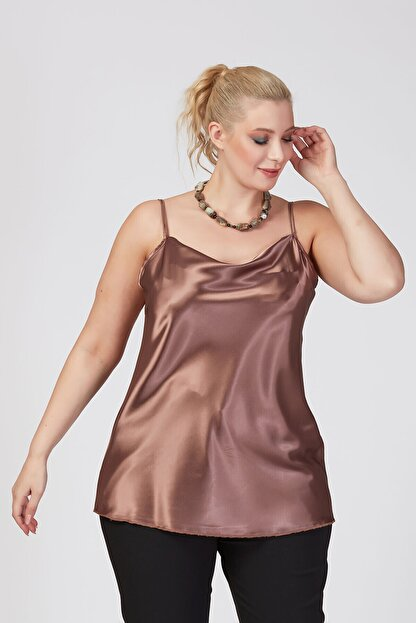 Büyük Moda Kadın Vizon İp Askılı Degaje Yaka Askılı Bluz