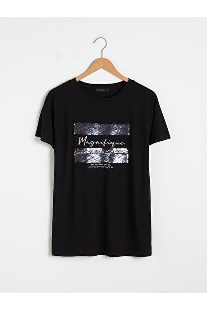 LC Waikiki Kadın Siyah Baskılı T-Shirt