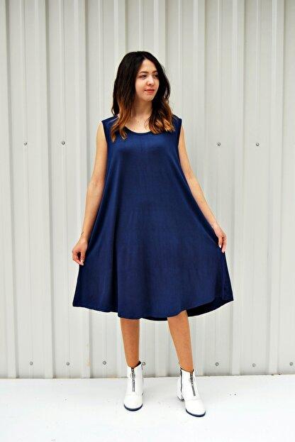 MGS LİFE Kadın Lacivert Kolsuz Düz Renk Çan Etek Elbise