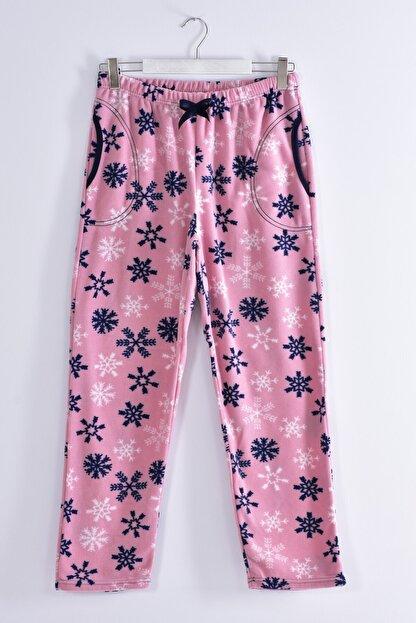 Pemilo Kadın Pudra Büyük Beden Cepli Welsoft Polar Tek Pijama Alt 245-03