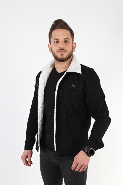 TREND YAŞAR Byyasar Siyah Içi Beyaz Yünlü Kot Ceket