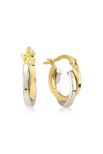 Gelin Pırlanta Kadın Küpe 14 Ayar Altın Çift Renk Halka 1.7 cm Küpe