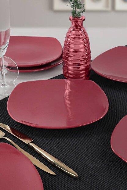 Keramika Carmen Kırmızı Köşem Pasta Tabağı 22 Cm 6 Adet
