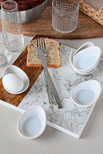 Keramika Beyaz Mini Gondol Çerezlik / Sosluk 8 Cm 6 Adet