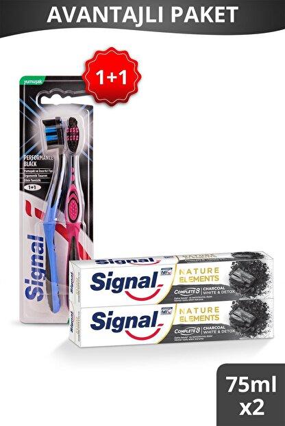 Signal Nature Elements Kömür Tozu Özlü Diş Macunu 75 ml + Performance Black 1+1 Yumuşak Diş Fırçası
