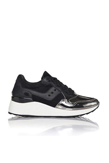 İnci Kadın Gümüş Siyah Vegan Ayna Süet Bağcıklı Klasik Spor Ayakkabı -3003