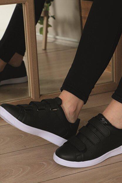 AlbiShoes Unisex Cırtlı Siyah - Beyaz Sneaker - Sbc75