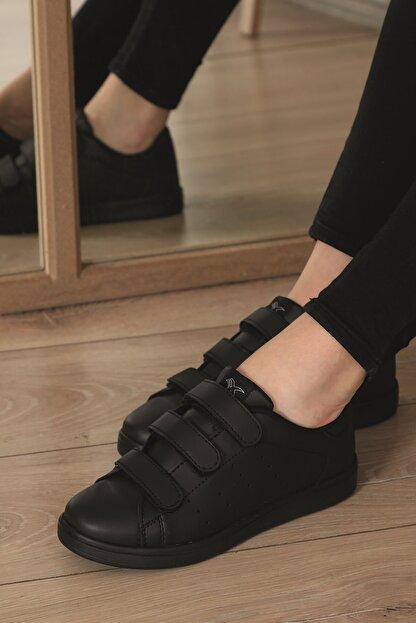 AlbiShoes Unisex Siyah  Cırtlı Sneaker  Scc75
