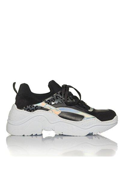 İnci Kadın Siyah Vegan Cilt/dalgıç Slip On Bağcıklı Klasik Spor Ayakkabı -i3007
