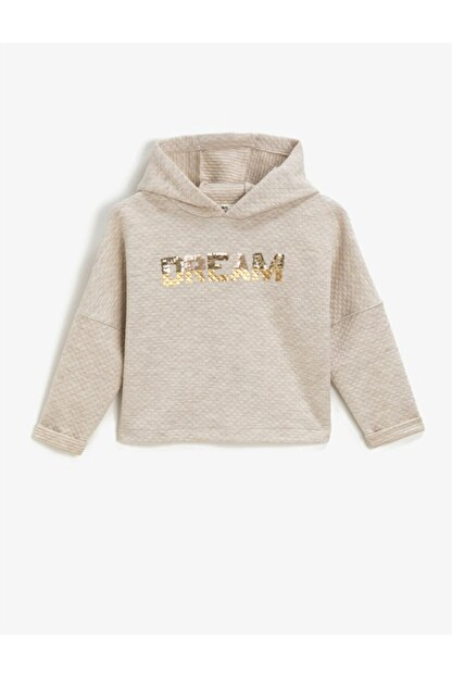 Koton Kız Çocuk Beyaz Kapüşonlu Yazılı Baskılı Uzun Kollu Sweatshirt