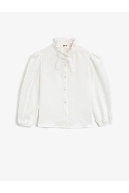 Koton Kız Çocuk Beyaz Dik Yaka Fırfırlı Düğmeli Uzun Kollu Bluz