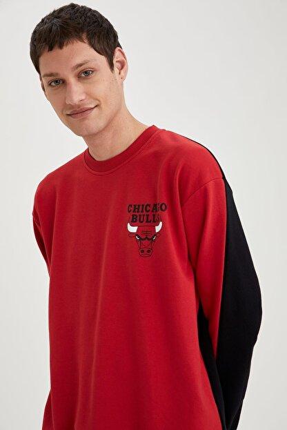 Defacto Erkek Kırmızı Nba Lisanslı Unisex Oversize Fit Sweatshirt