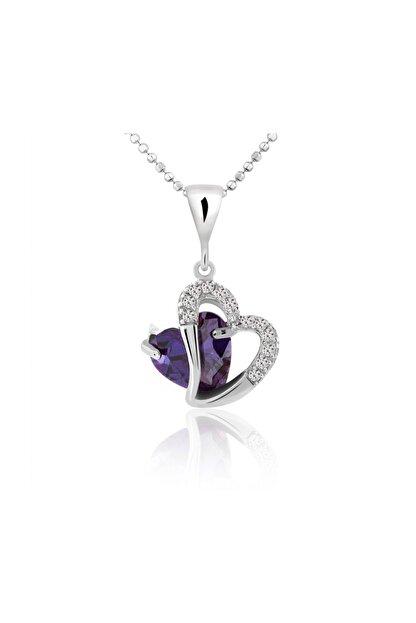 Chavin Kadın Kalp Ametist Taşlı Kalpli Gümüş Kolye Cd10