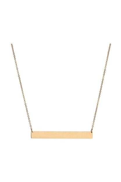 Chavin Kadın Sarı Düz Plaka Çelik Kolye eb40