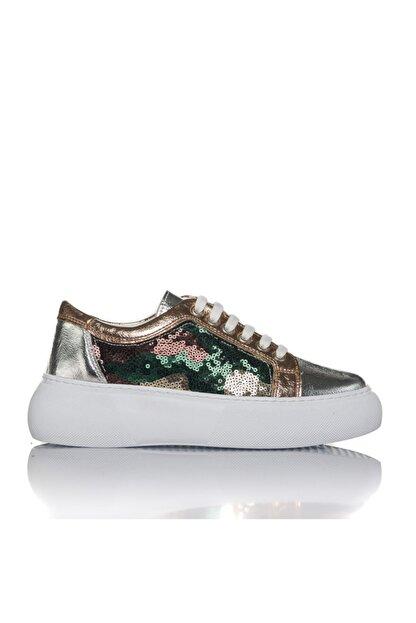 İnci Kadın Gümüş Vegan Kırışıkpul Bağcıklı Klasik Spor Ayakkabı -i3022