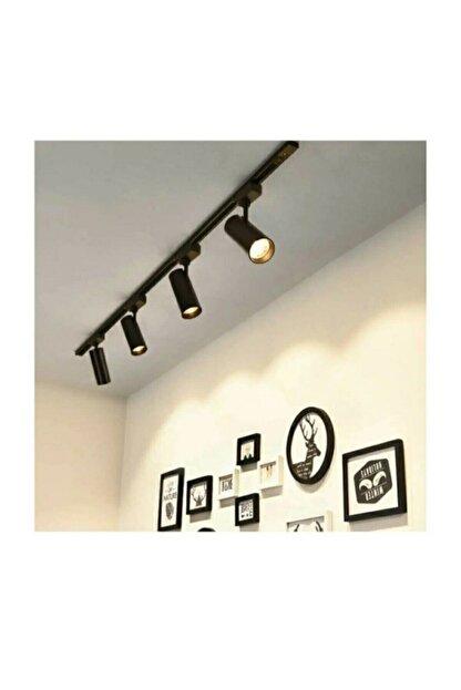 AKDENİZ AYDINLATMA ELEKTRİK MALZEMELERİ Modern Tasarım 4 Adet 360 Derece Dönen Led Ray Spot Lamba 1 Metre Raylı Armatür Siyah Kasa Günışığı