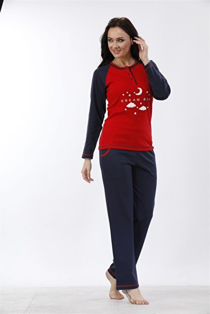 Etoile %100 Cotton Uzun Kol Pijama Takımı ( Detay: Cepli ) 98052