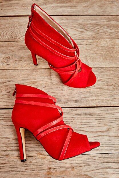 Bambi Kırmızı Süet Kadın Abiye Ayakkabı L0501901665