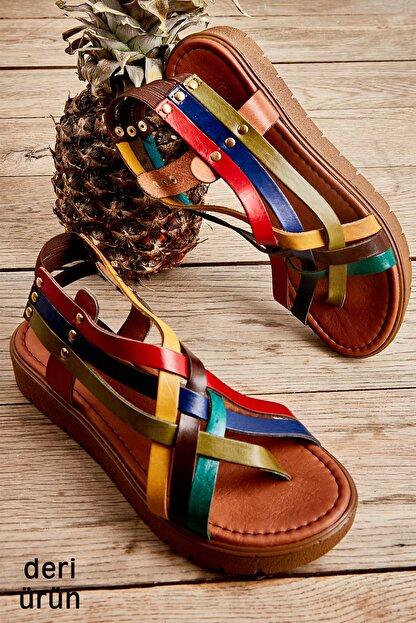 Bambi Hakiki Deri Çok Renkli Kadın Sandalet L0529030503