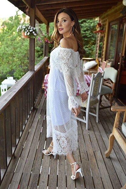 Modakapimda Beyaz Güpür Kayık Yaka Elbise