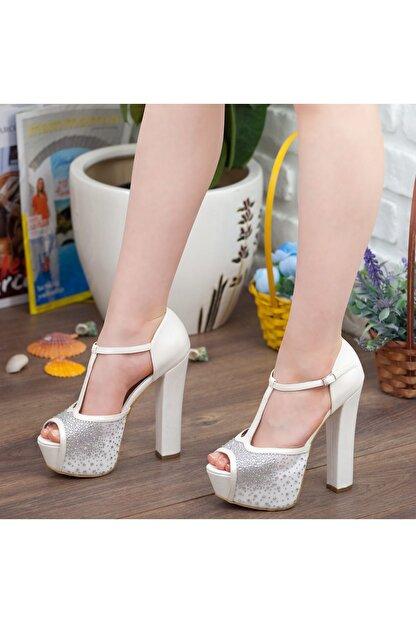 Adım Adım Sedef Platform Topuk Dolgu Taban Abiye Gelin Kadın Ayakkabı • A192ysml0024
