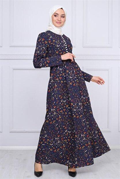 Modamihram Düğme Detaylı Tesettür Elbise Lacivert