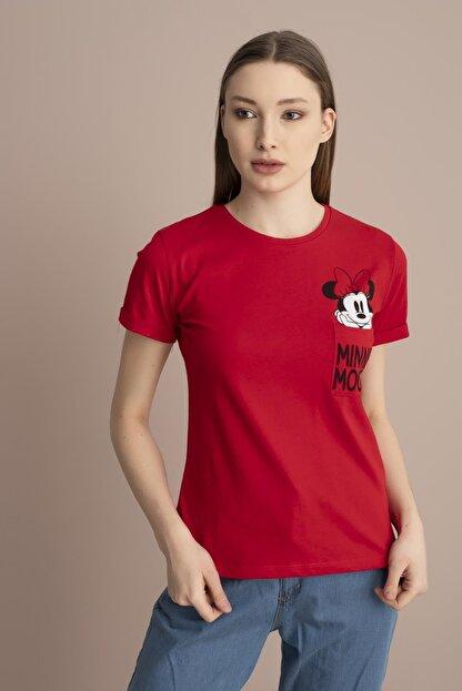 Tena Moda Kadın Kırmızı Minnie Mouse Yazılı Tişört