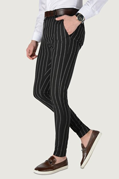 Terapi Men Erkek Çizgi Desenli Slim Fit Keten Pantolon 20k-2200235 Siyah