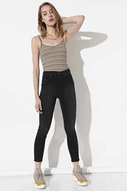Arma Life Yüksek Bel Pantolon - Taşlanmış Siyah
