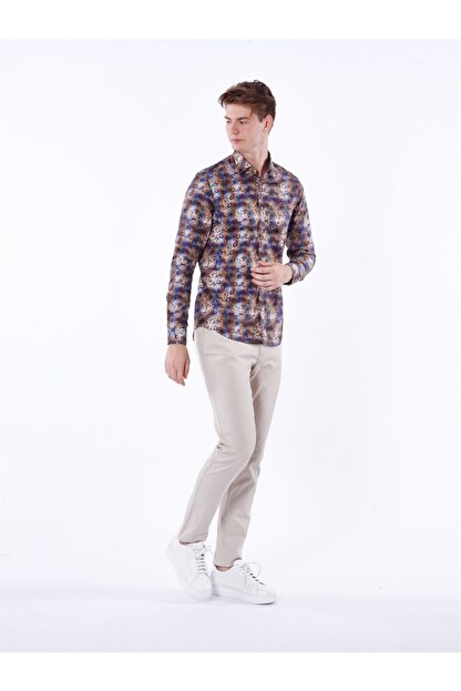 Dufy Çok Renkli Baskılı Ince Sık Dokuma Erkek Gömlek - Ekstra Slım Fıt