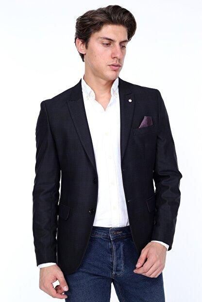 Zen Zen Zenzen Siyah Kareli Erkek Blazer Ceket Slım Fıt
