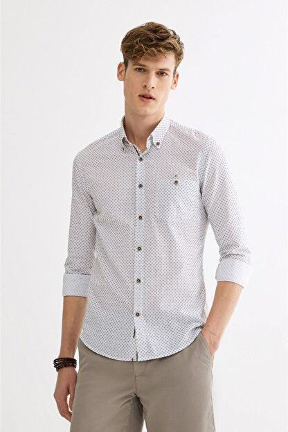Avva Erkek Haki Baskılı Düğmeli Yaka Slim Fit Gömlek A01y2027