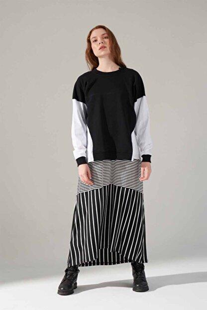 Mizalle Youth Poplin Gömlek Detaylı Sweatshirt (Siyah)