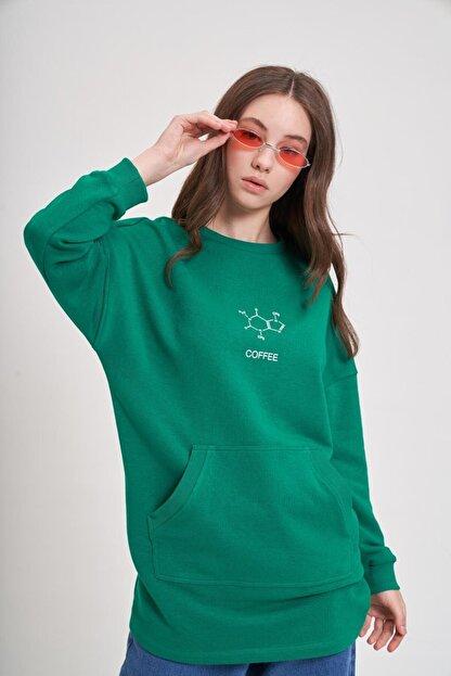 Mizalle Youth Dna Baskılı Sweatshirt (Yeşil)