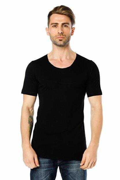 Ozer Butik Erkek Siyah Göğüs Ve Sırt Detaylı Arkası Uzun Tişört Oz071995vs02